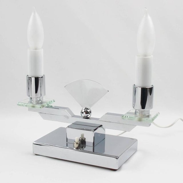 Metal French Art Deco Modernist Chrome Table Candle Lamp, a Pair For Sale - Image 7 of 10