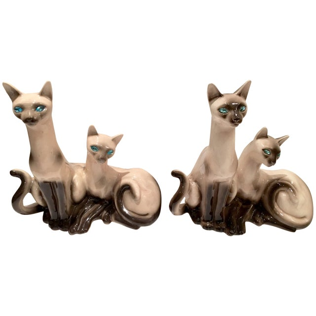 Vintage Siamese Twin Ceramic Cat Lamps - A Pair For Sale