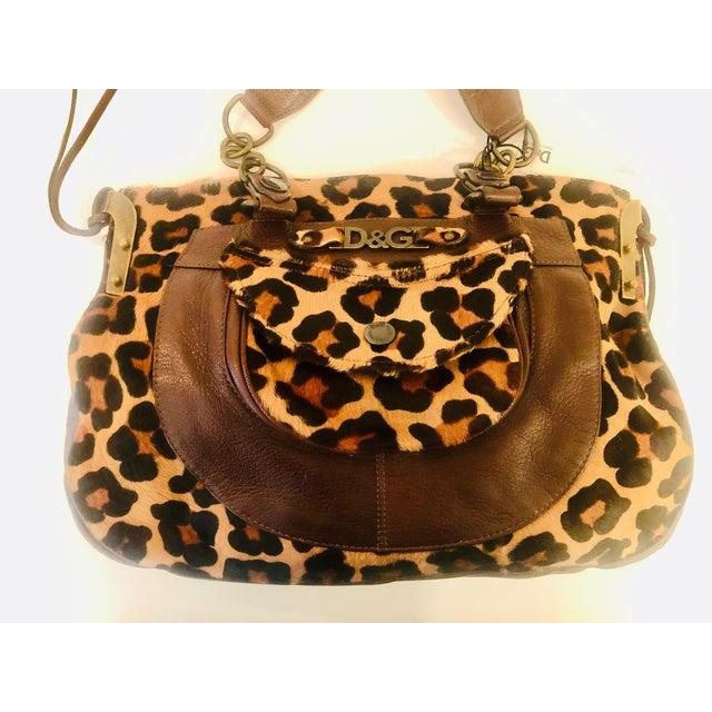 Brown Dolce & Gabbana D & G Leopard Fur Satchel Purse For Sale - Image 8 of 10