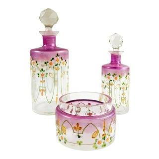Antique Enameled Glass Perfume Bottle Set - Set of 3 For Sale
