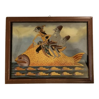 Early 20th Century Antique Javanese Indonesian Reverse Glass Painting For Sale