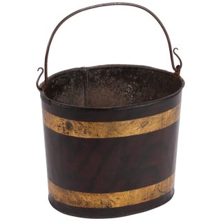Painted Metal Tole Bucket With Delicately Curved Handle For Sale
