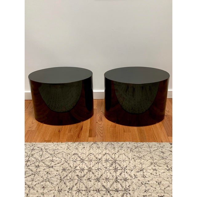 Contemporary 1980s Black Laminate Oval Drum Tables-A Pair For Sale - Image 3 of 11
