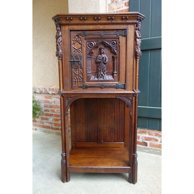 Antique French Carved Oak Gothic Vestment Cabinet For Sale - Image 11 of 11