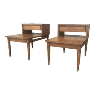 1950s Mid Century Modern Oak End Tables - a Pair