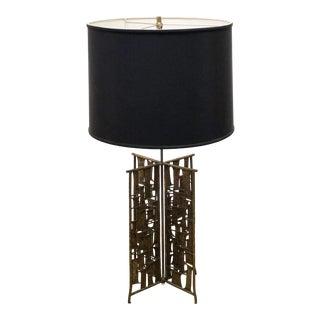 1960s Brutalist Bronze Lamp For Sale