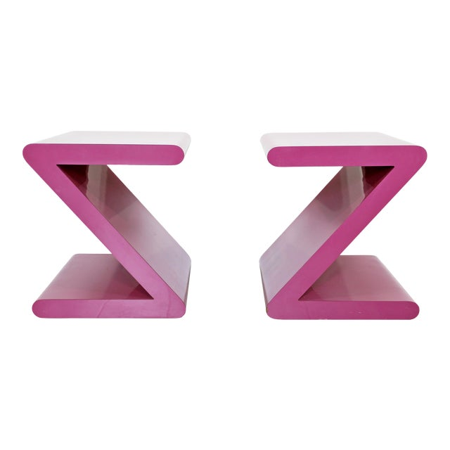 Contemporary Modern of Acrylic Z Shaped Side End Tables 1980s Pink - a Pair For Sale