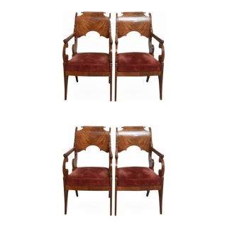 Set of Four Russian Neoclassic Mahogany Armchairs