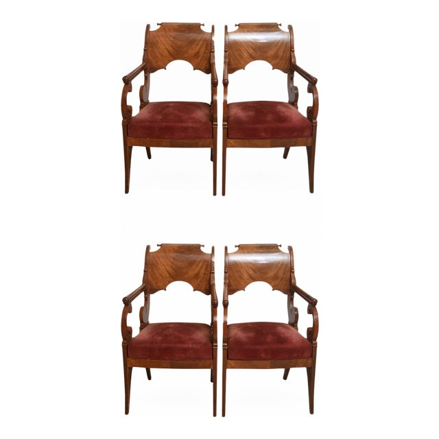 Set of Four Russian Neoclassic Mahogany Armchairs For Sale