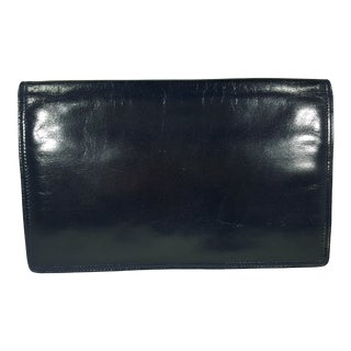 Vintage Navy Bottega Veneta Clutch For Sale