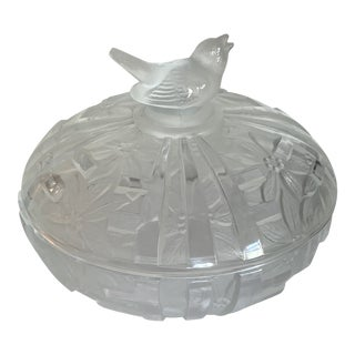 Art Deco Style Etched Crystal Covered Candy Dish For Sale