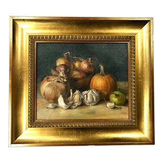 Original Oil Painting Onions and Pumpkin Still Life For Sale