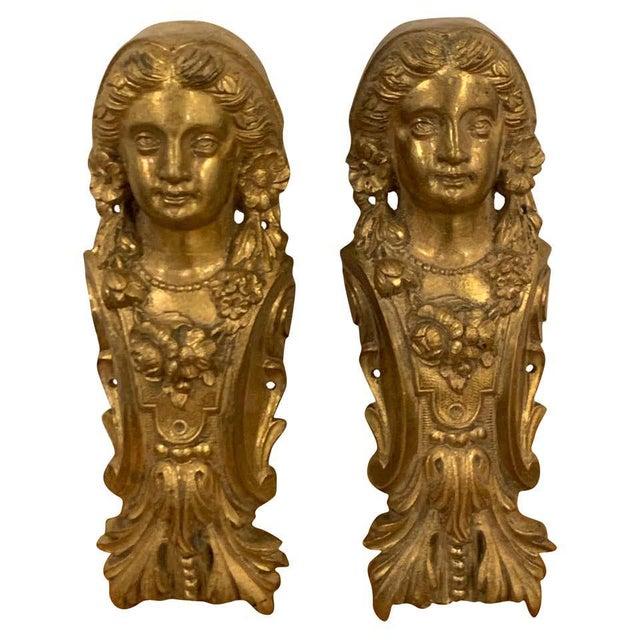 Napoleon III Gilt Bronze Female Medallion Furniture Mounts - a Pair For Sale - Image 10 of 10