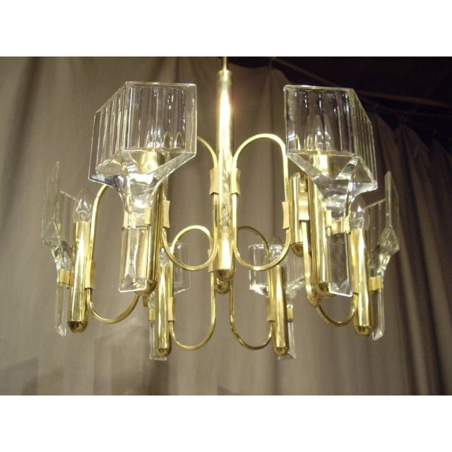 Six-light French vintage glass and brass 1960s chandelier. Circa 1960.
