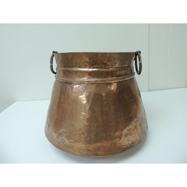 Vintage Round Moroccan Polished Copper Decorative Planter With Handles For Sale In Miami - Image 6 of 6