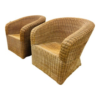 Pair Vintage Woven Wicker Club Chairs For Sale
