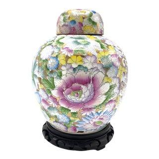 Vintage Mille Fleur Thousand Flowers Design Chinese Porcelain Ginger Jar For Sale