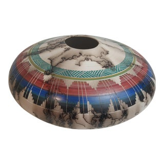 Navajo Etched Horse Hair Pillow Pot For Sale