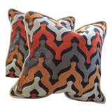 Image of Orange, Copper, Gray & White Pillows in Wave Pattern, Raised Velvet, Velvet Backing - a Pair For Sale