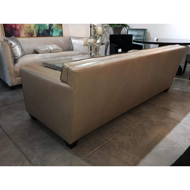 Leathercraft Modern LeatherCraft Custom Pearlized Italian Leather Sofa For Sale - Image 4 of 13
