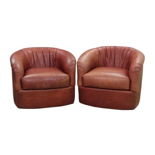 Mid Century Brown Leather Swivel Barrel Chairs- A Pair For Sale