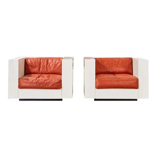 Massimo Vignelli for Poltronova Saratoga Cube Chairs - a Pair For Sale