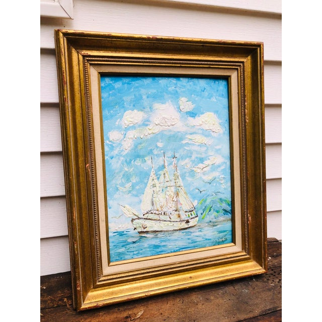 "Wonderful piece of art. Great eye catcher. Framed wood antique gold gilt frame sized 17.5x 20"". Signed artist E.J. Looks..."