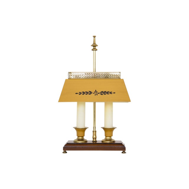 French Yellow Bouillotte Lamp For Sale - Image 3 of 7