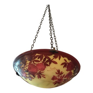 Galle French Cameo Glass Hanging Light Fixture Pomegranate Pattern For Sale