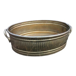1970s Vintage Brass Oblong Planter Pot For Sale