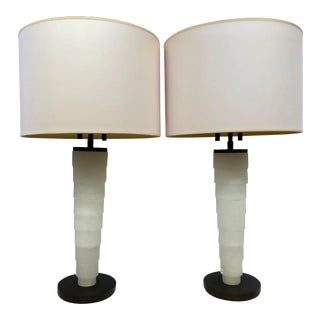 Modern Stanford Stacked Alabaster Table Lamp by Thomas O'Brien for Visual Comfort With Shades - a Pair For Sale