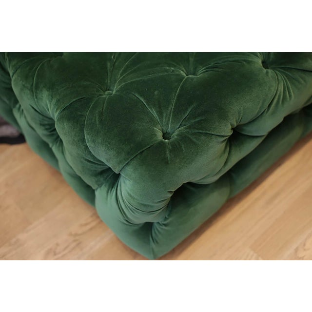 Early 21st Century Large Tufted Green Velvet Ottoman For Sale - Image 5 of 7