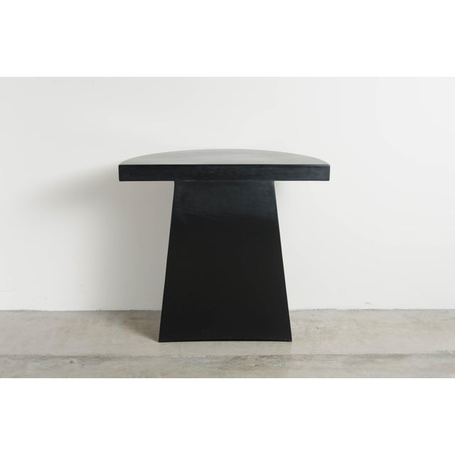 Robert Kuo Half Moon Hand Repousse Limited Edition Table in Black Lacquer by Robert Kuo For Sale - Image 4 of 6
