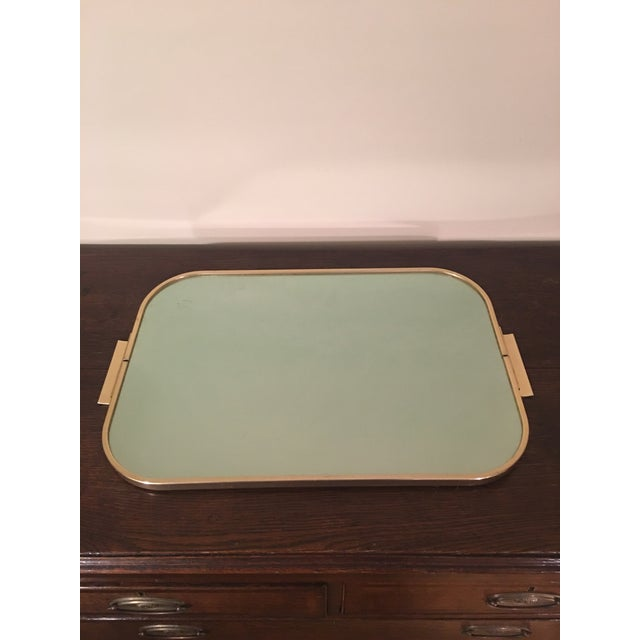 Mad Men style large green tone Kaymet bar tray made in England.