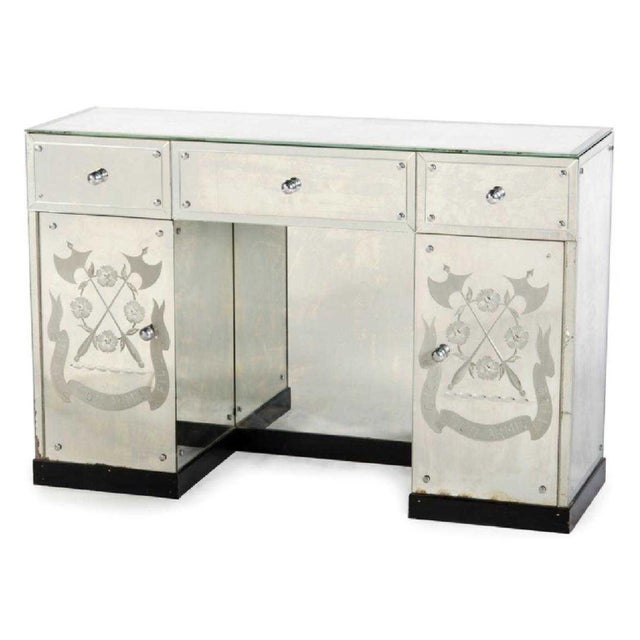 Transparent Hollywood Regency Mirrored Desk or Console Table For Sale - Image 8 of 8