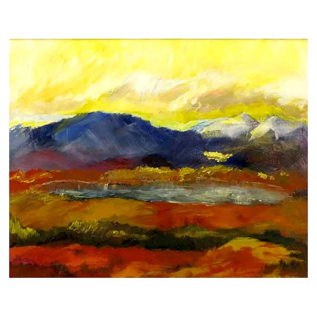 Colorful expressionist mountain scene with lake in reds, gold, yellow, violet, blue and white; most likely by Barbara...