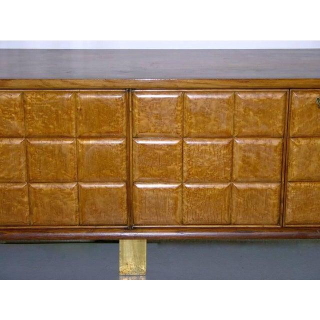 1940s Minimalist Dark & Light Wood Cabinet Sideboard on Brass Legs For Sale - Image 10 of 12