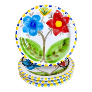 Giovanni DeSimone Italian Pottery Flower Plates- Set of 4 For Sale