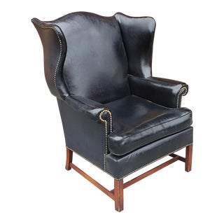 Vintage Hickory Chair Co. Black Vinyl Upholstered English Style Wingback Library Armchair C1960s For Sale