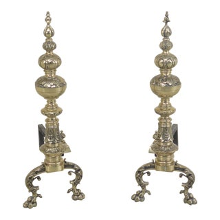 Bronze French Style Large Fireplace Andirons - a Pair For Sale