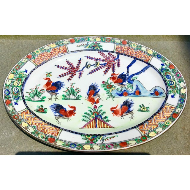1940s Vintage Chinoiserie Rooster Platter For Sale - Image 9 of 9