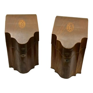 Sheraton Period Mahogany Cutlery Boxes - a Pair For Sale