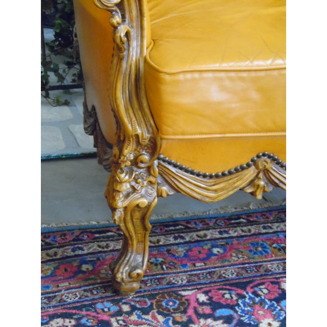 Orange 1930s Hand Carved Leather Chairs - Set of 4 For Sale - Image 8 of 9
