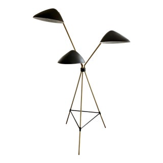 Curvilinear Mid-Century 3-Light Floor Lamp For Sale