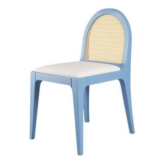 Juliette Dining Chair - Summer Mist Blue, Optic White Linen For Sale