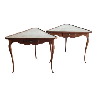 Mirror Topped Triangular Tables - A Pair