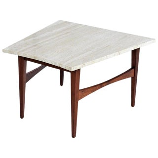 Mid-Century Modern Jens Risom Style Wedge Travertine and Walnut Side Table For Sale