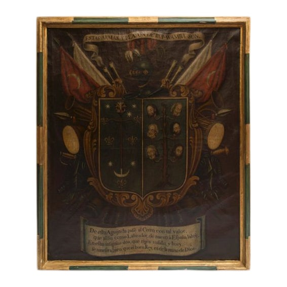 19th Century Antique Coat of Arms Framed Oil Painting For Sale