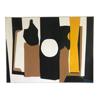 Vintage Mid Century Hard Edge Abstract Original Signed Painting on Canvas For Sale
