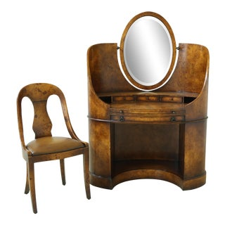 Theodore Alexander Burl Walnut French Deco Vanity & Chair For Sale